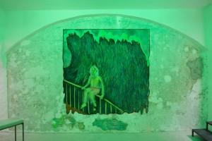 Giuliana Rosso, L'arcobaleno disidratato, 2019, chalks and charcoal on paper,200 x 200 cm