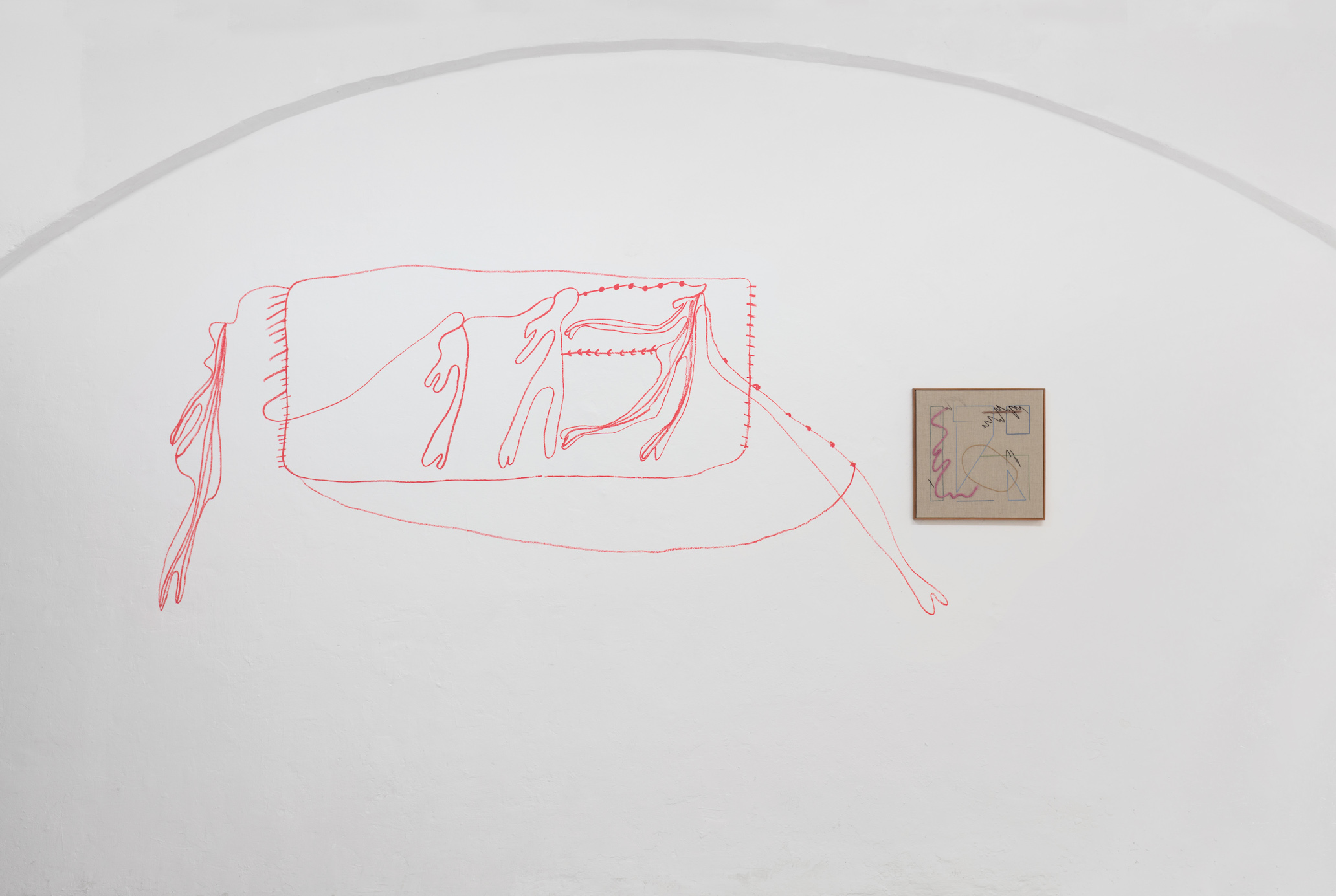 Fatima Moallim, drawing performance; Nadine Byrne, Echoes (20), 2019, Embroidery on linen
