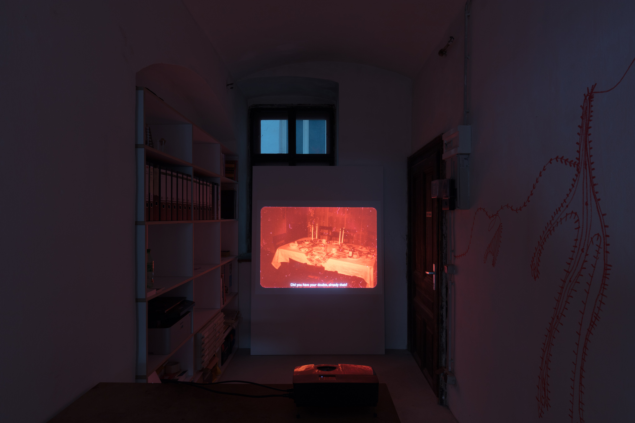 Igor Blomberg Tranaeus, What Might Once Have Belonged to Me (I), 2018, HD video, silent; Fatima Moallim, drawing performance