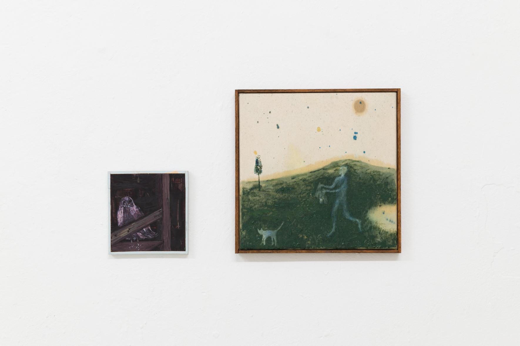 Eiko Gröschl, Traum 14.-15.5.16 (Drinnen), 2016; Eiko Gröschl, O.T. (2) (Katze, Flaschen), 2019