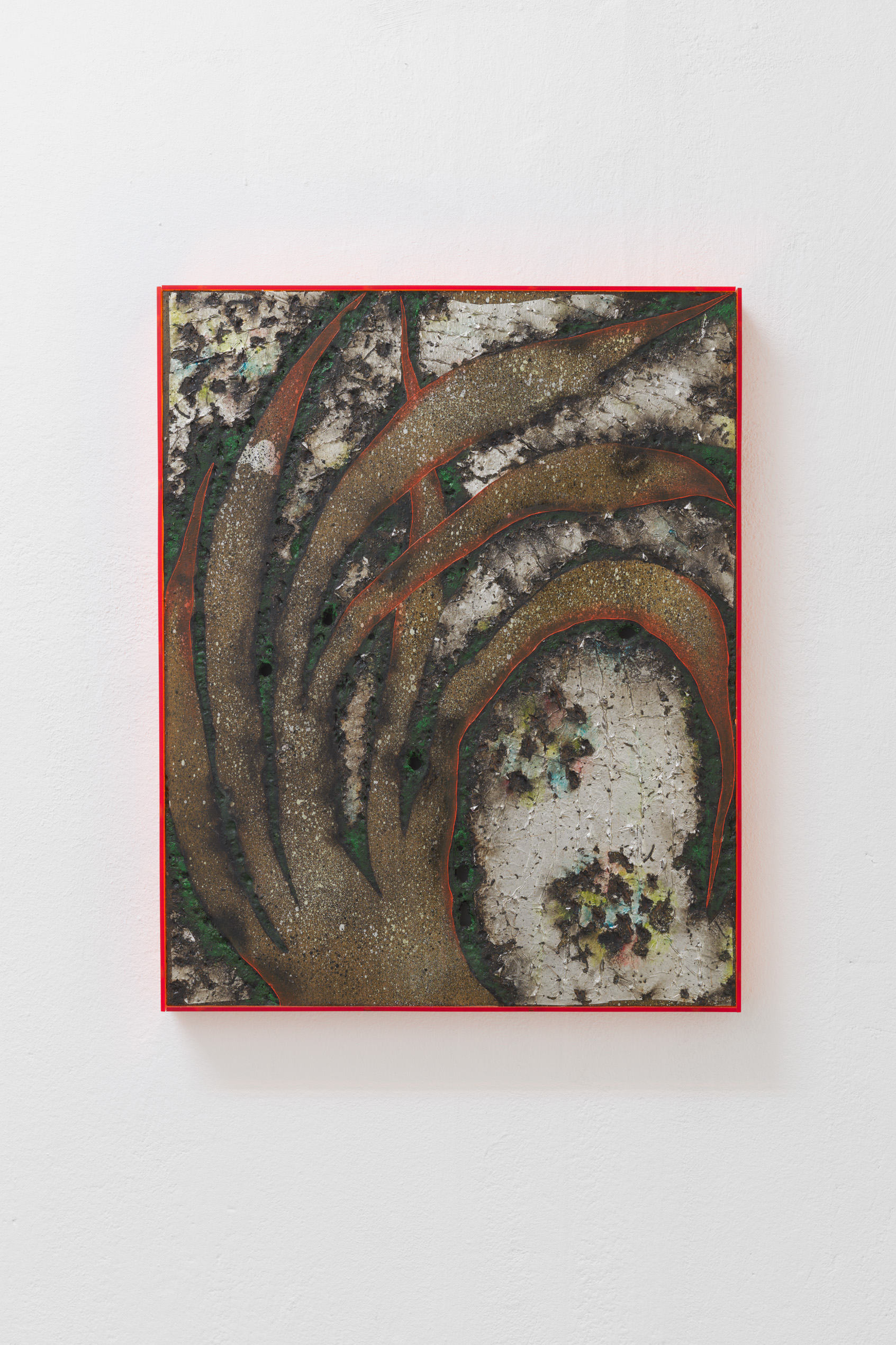 Davide Zucco, Yellow plant, 2017, oil, spray paint, pigment, aluminium foil, combustions and varnish on wood, plexiglass frame