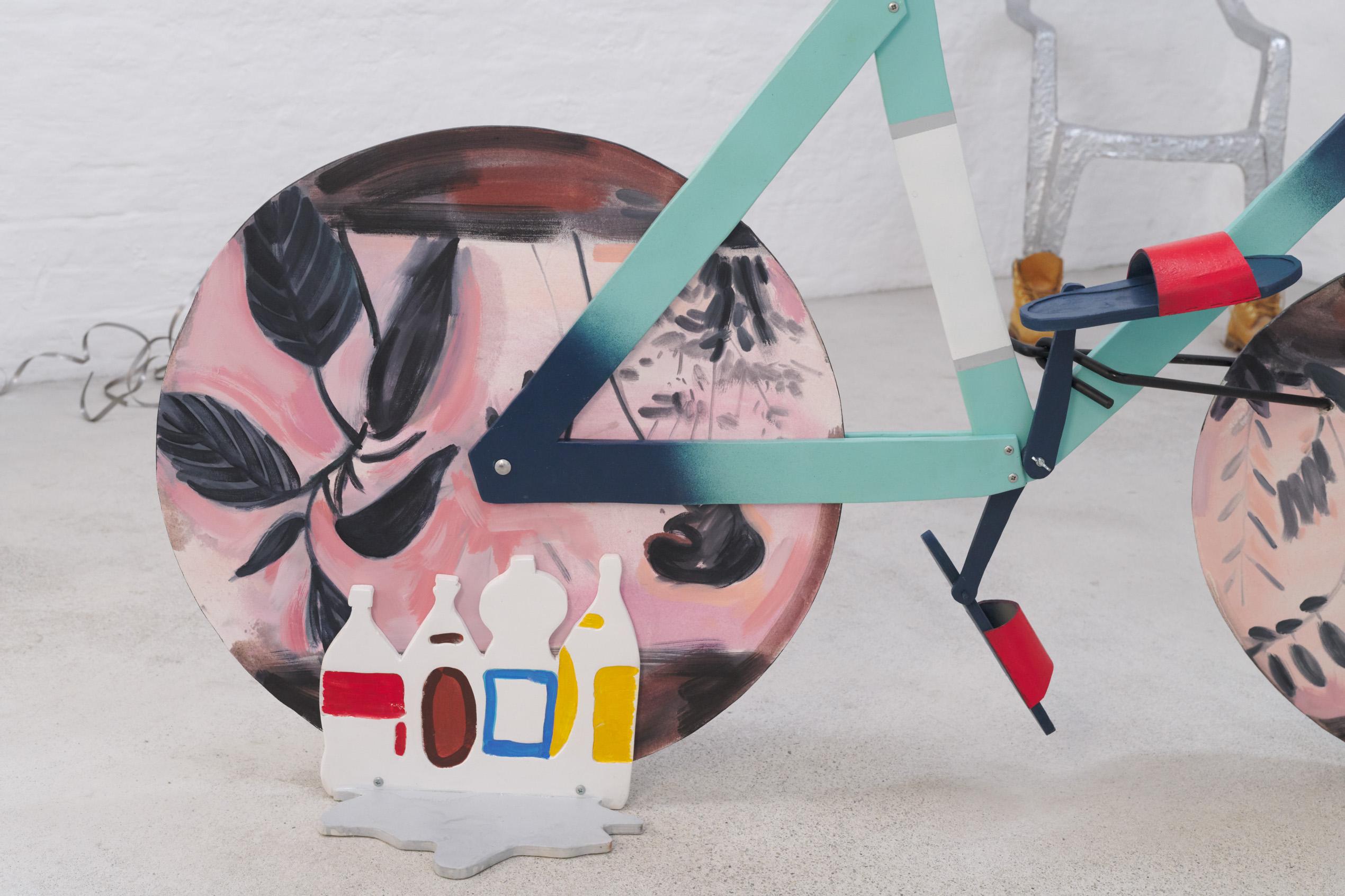 Ellinor Aurora Aasgaard and Elizabeth Ravn, Celeste, 2019, 173 x 60 x 100 cm, wood, oil paint, plastic, canvas, bicycle bell