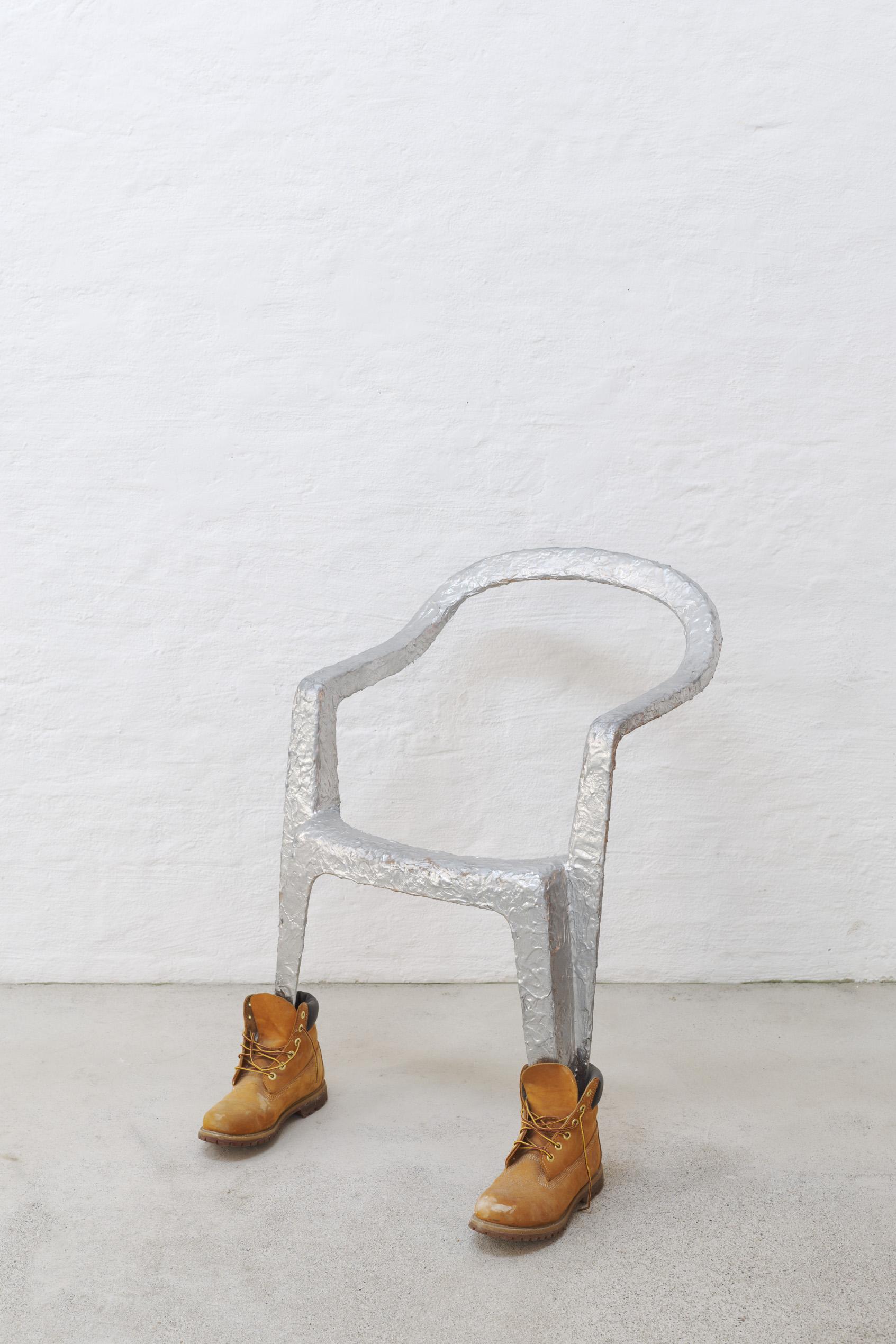 Lindsay Lawson, Jan Jansen, 2018, garden chair, Timberlands, latex, acrylic